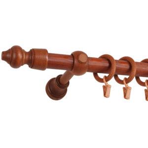 brązowy karnisz drewniany